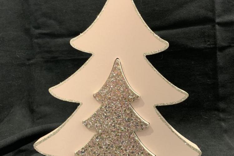 albero di Natale doppio legno oro e rosa h.24