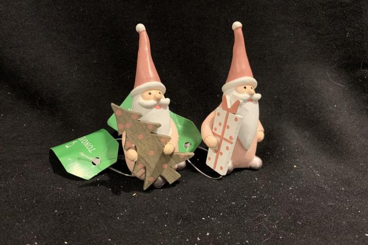 Babbo Natale con albero e pacchetto regalo