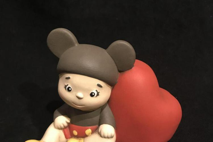 Egan baby teneroni statua topolino con luce led bomboniera