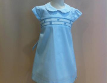 vestito cotone ricamato azzurro