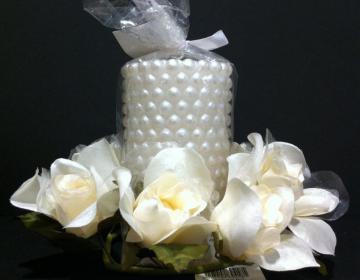Candela con ring di fiori