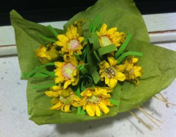 vaso con fiori in carta bomboniera
